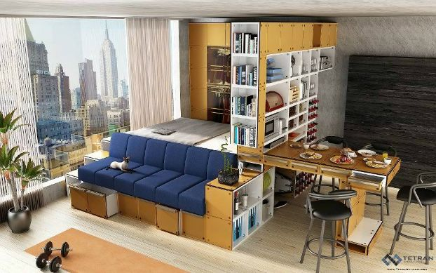 Small Studio Apartment Couch in front of bed, Multi ...