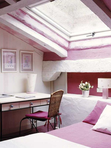 Cute Pinky Attic Bedroom For Teenage Girls Pictures