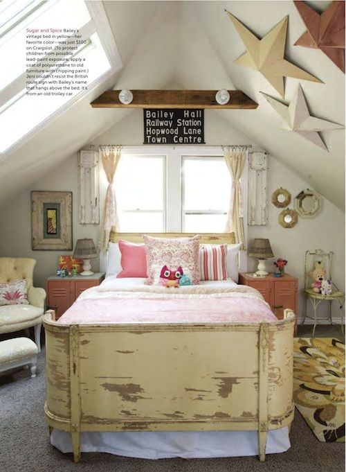 Decorating A Small Attic Bedroom Weathered Bed For Little Girls