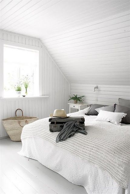 Elegant White Small Attic Bedroom Decorating Images