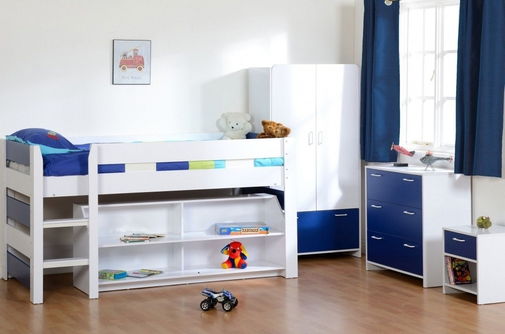 Beautiful Small Cabin Beds Midsleeper Set Wardrobe Chest Blue