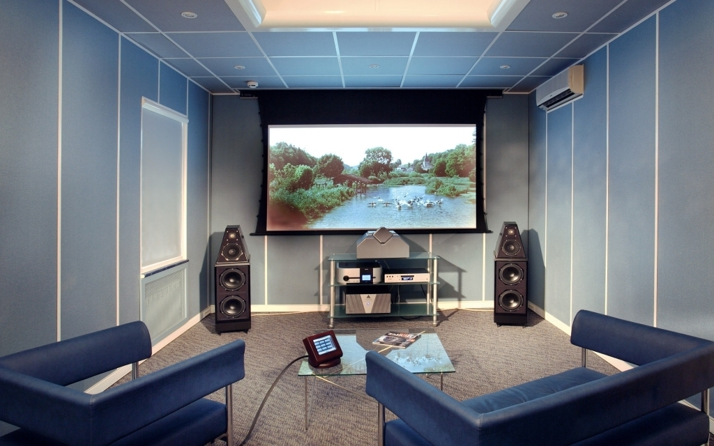 Beautiful Small Media Room Ideas With Smal Capacity And Blue Theme Color