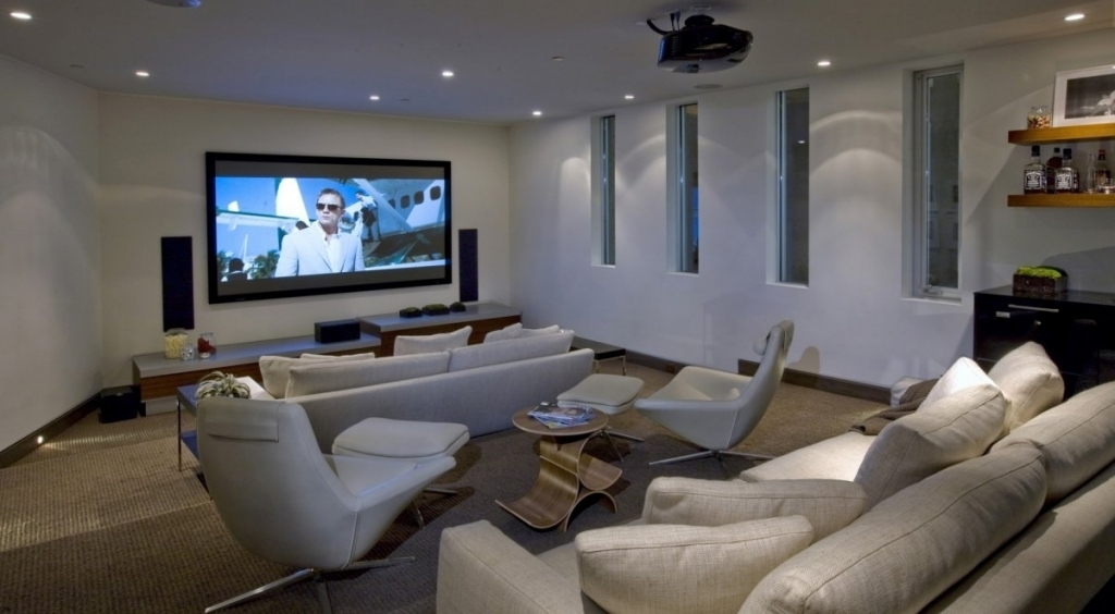 Cosy Small Media Room Ideas Modern Media Cinema Room With Wide Lcd Home Theater