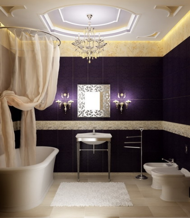 Delightful Small Bathroom Paint Color Ideas Regarding Purple And White Wall Decoration Image