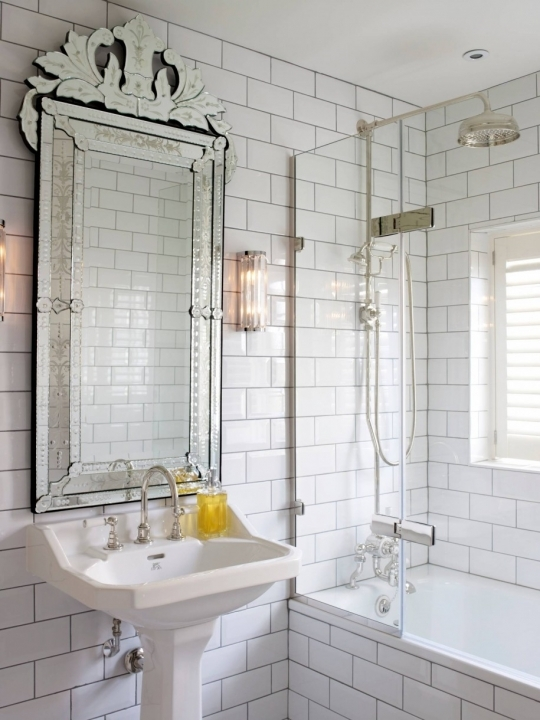 Comfy Small Bathroom Remodeling Subway Tile Mirrored Subway Tiles With White Wall Paint Color And Calm White Stylish Sink