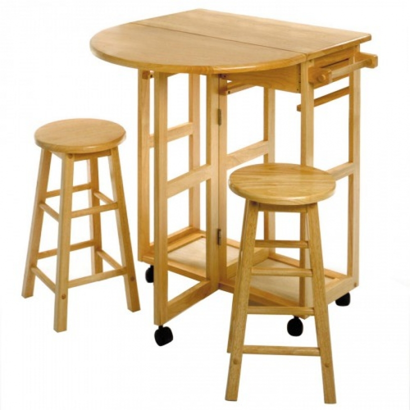Drop Leaf Kitchen Tables For Small Spaces With 2 Round Stools 045