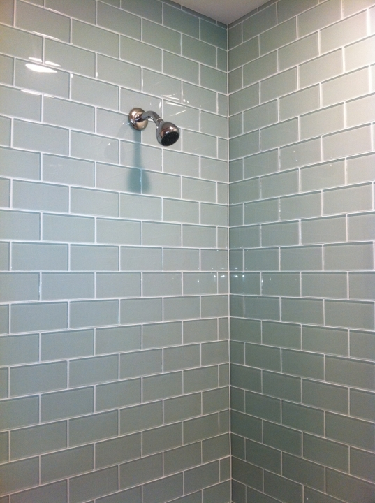 Extraordinary Small Bathroom Remodeling Subway Tile Shower Features Glass Subway Tile Photo