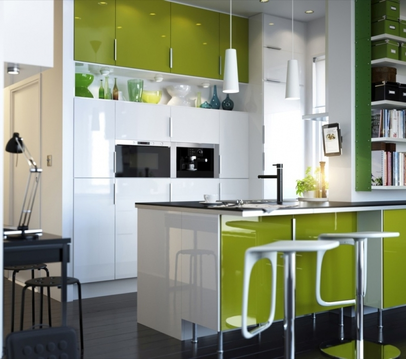 Interior Design Kitchen Small Space With Stiylish Green And White Colors