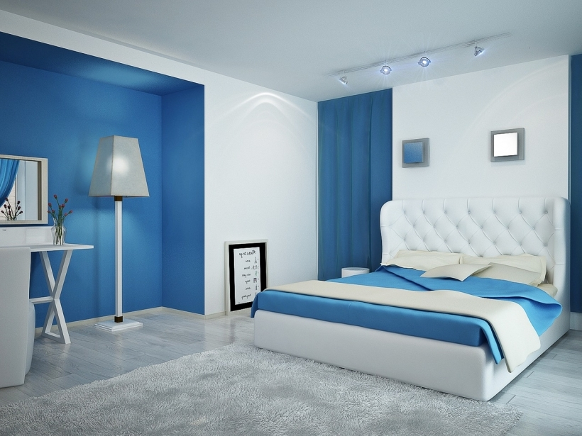 Small Bedroom Paint Color Contemporary Simple Decor With Blue And White