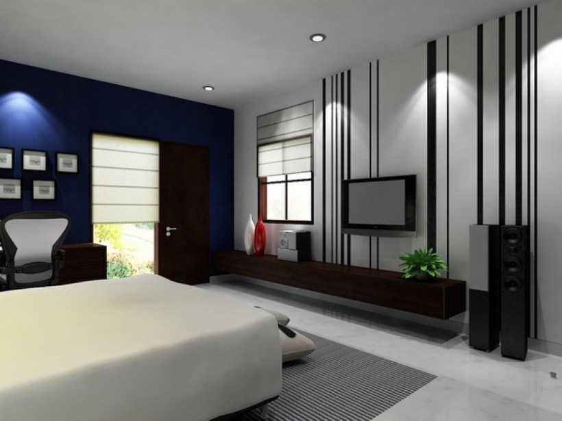 Small Bedroom Paint Color With Bedroom With Wall Mounted Flat Tv
