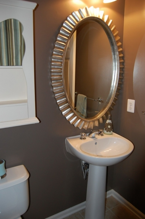Small Powder Room Decorating Ideas Delightful Contemporary Metal Frame Design 514