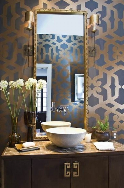 Small Powder Room Decorating Ideas Delightful Modern Stylish Blue Gold Patterned Accent Wall 250