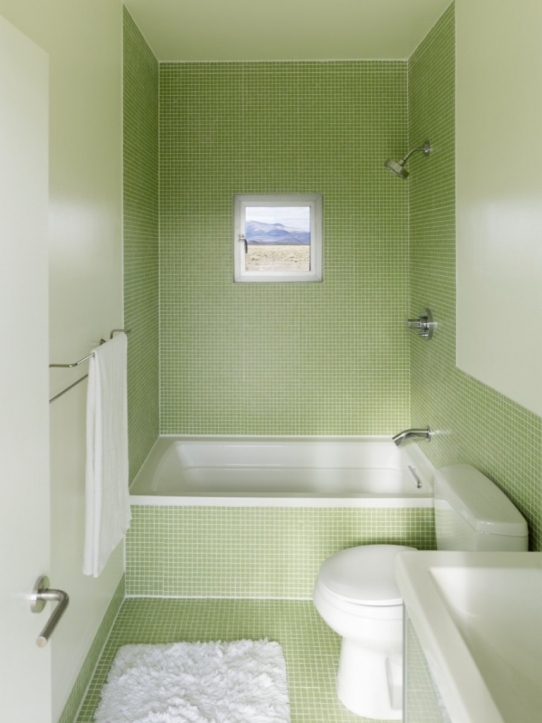 Bathroom Wall Tile Ideas Design With Green Theme Complete With White Bathtub And Towel Rack