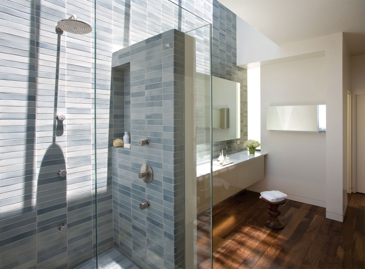 Bathroom Wall Tile Ideas With Brown Wooden Parquet Flooring Bathroom With Grey Ceramic Mosaic Small Bathrooms Decor Idea