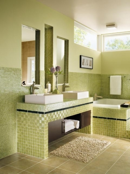 Bathroom Wall Tile Ideas With Green Bathroom Wall Mirror Small Space Decor