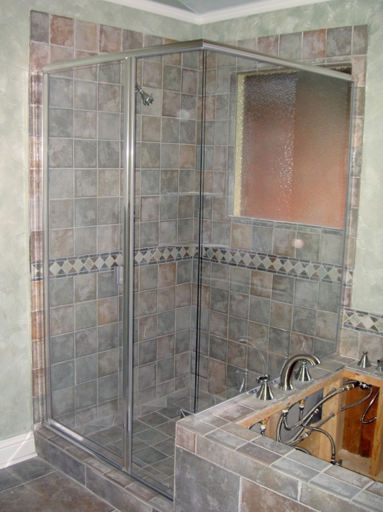 Bathroom Wall Tile Ideas With Natural Grey Tile Wall And Flooring Of Shower Stall Designed