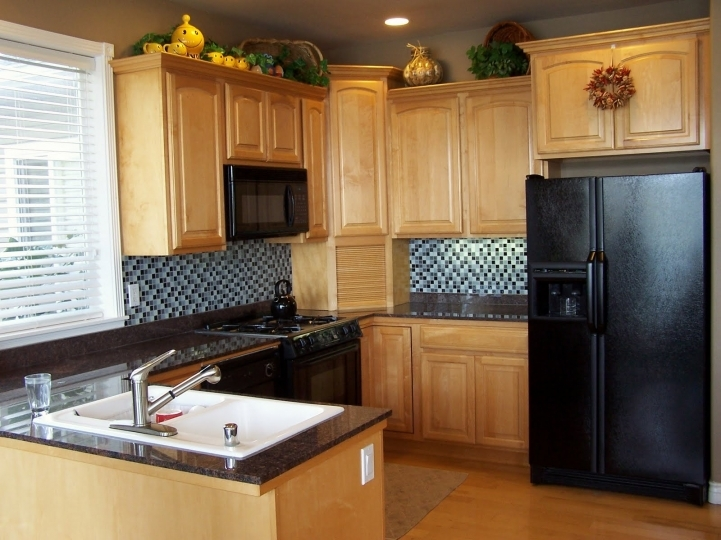 Kitchen Cupboard Designs For Small Kitchens With Marvelous Modern Brown Wooden Cabinet Countertop And Black Refrigerator 4452