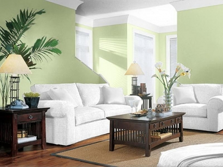 Paint Color Ideas For Small Living Room Inside Lovely White Sofa And Cream Green Wall Modern Living Room Paint Design Ideas  1784