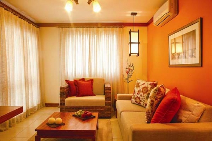 Paint Color Ideas For Small Living Room With Cozy Lighting Decoration And Orange Color Scheme 1496