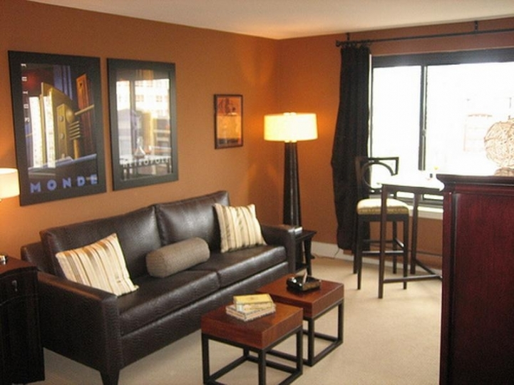 Paint Color Ideas For Small Living Room With Delightful Dark Furniture, Lamp Light In The Corner Pictures On The Black Sofa 6236