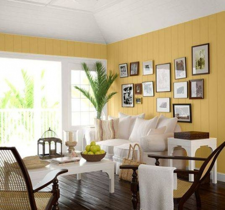 Paint Color Ideas For Small Living Room Within Amazing Yellow Wall Paint And White Leather Sofa Ideas 6819