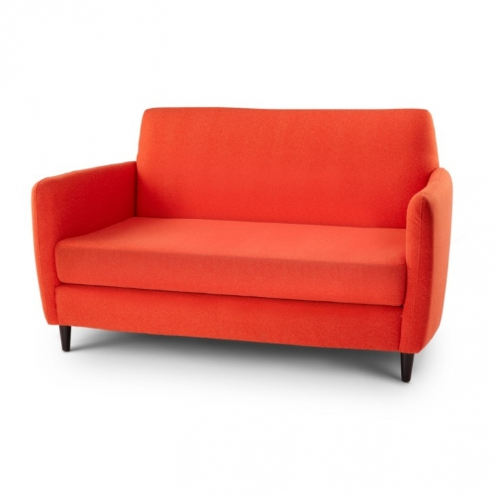 Red Sectional Sofa Bed For Small Spaces With Great Orange Linen Fabric Couch With Arms And High Backrest 1958