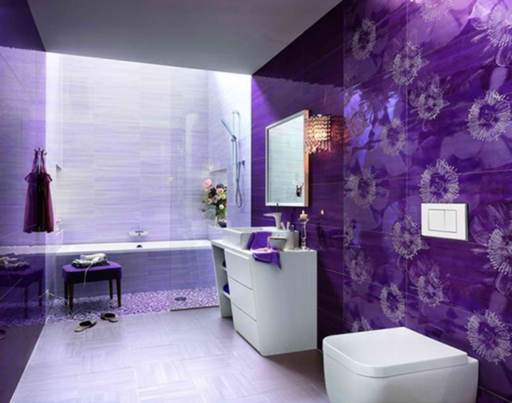 Small Bathroom Paint Colors With Fantastic  Sharp Ultra Modern Purple Painting And Flower Accent 2921