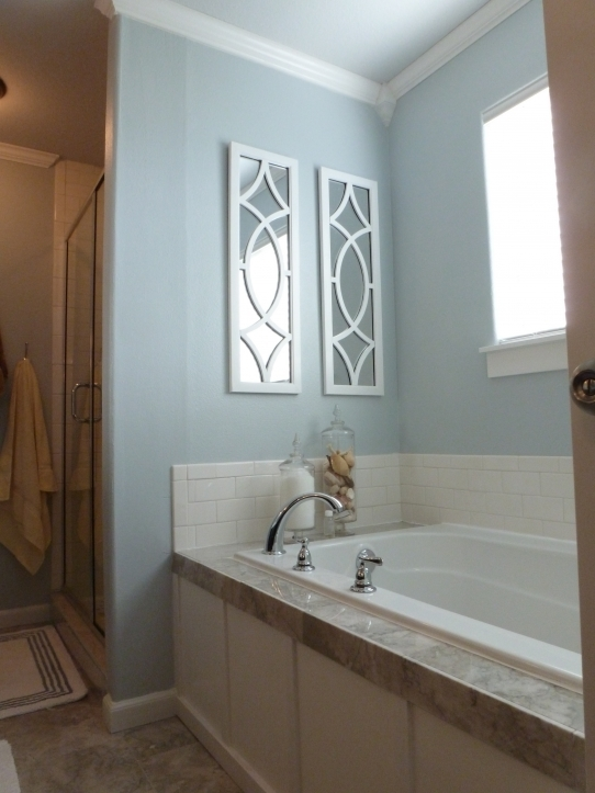 Small Bathroom Paint Colors With Outstanding Unique Ideas White Wooden Mirror Frame On Light Blue Painted 2114