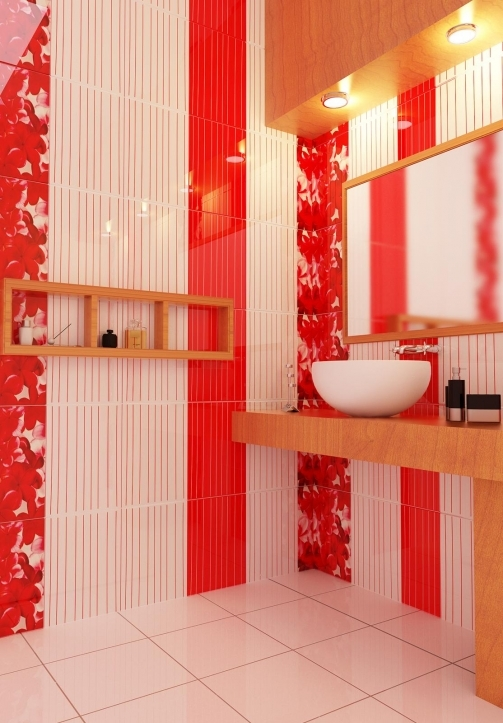 Small Bathroom Paint Colors Within Cozy Red Stripe Architectural Render Bathroom 0935