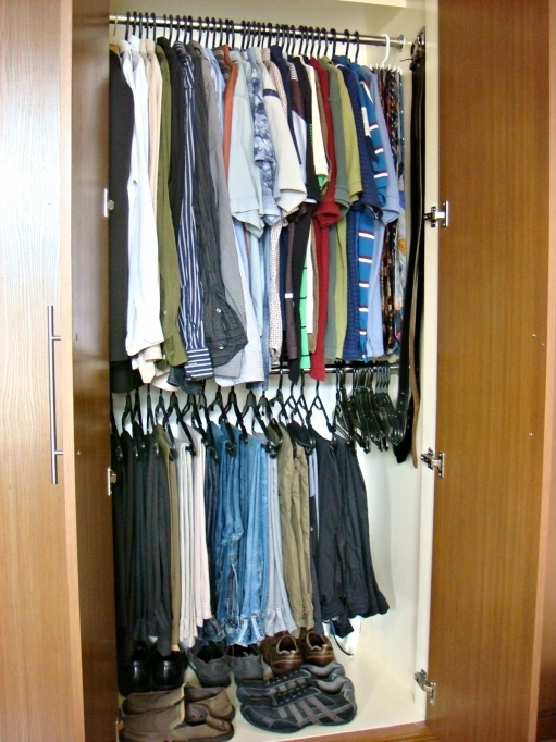 Small Closet For Small Bedrooms Design With Black Plastic Clothes Hanger And Storage Shoes Pictures
