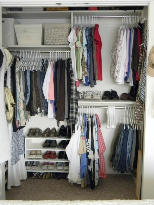 Small Closet Ideas Bedroom Chrome Metal Clothes Hangers Using White Wooden Shoes Racks Pics