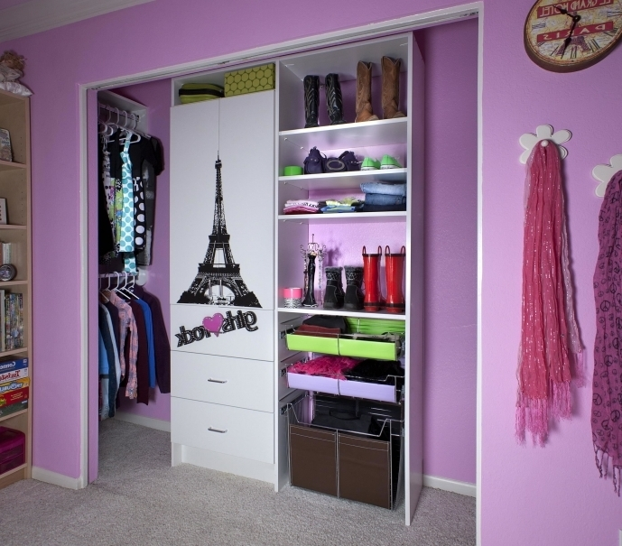 Small Closet Ideas With Purple Wall And Bookcase Also White Cupboard Pictures