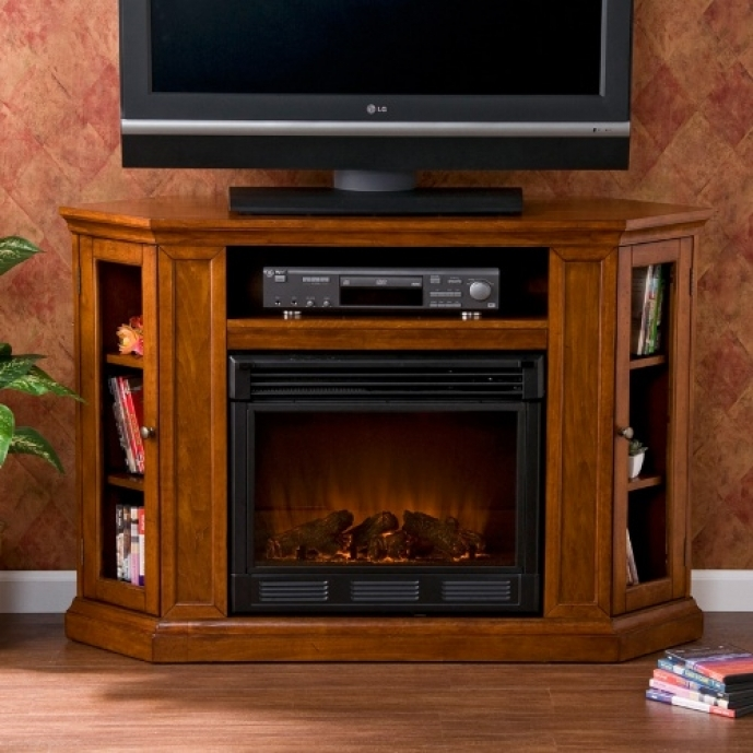 Small Corner Electric Fireplace Tv Stand Claremont Brown Mahogany Media Console Southern Enterprises 41