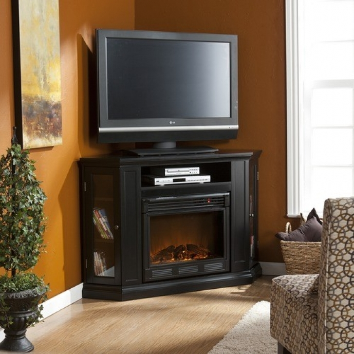 Small Corner Electric Fireplace Tv Stand White Color  Designs 01