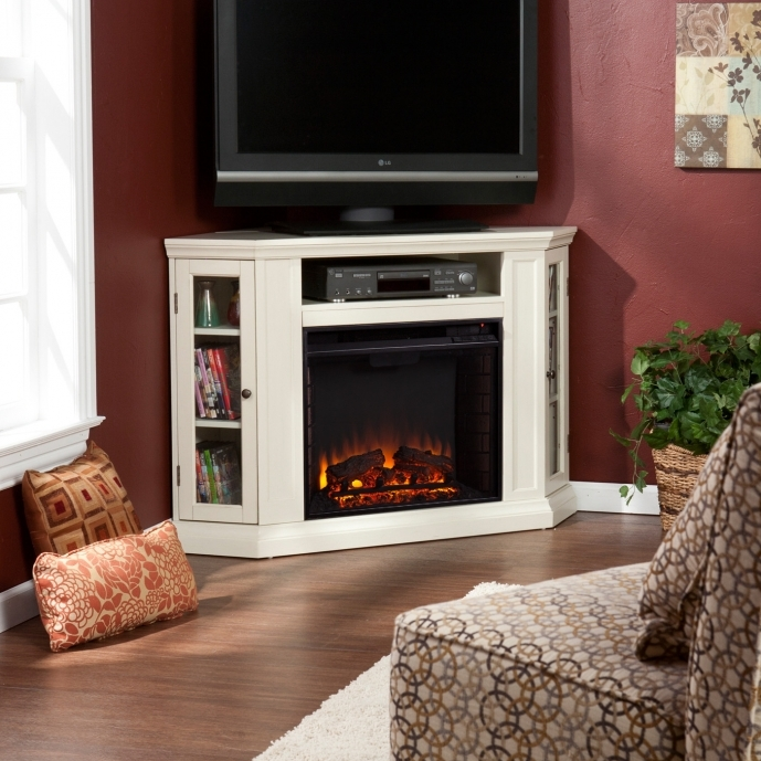 Small Corner Electric Fireplace Tv Stand White Entertainment Fireplaces 78