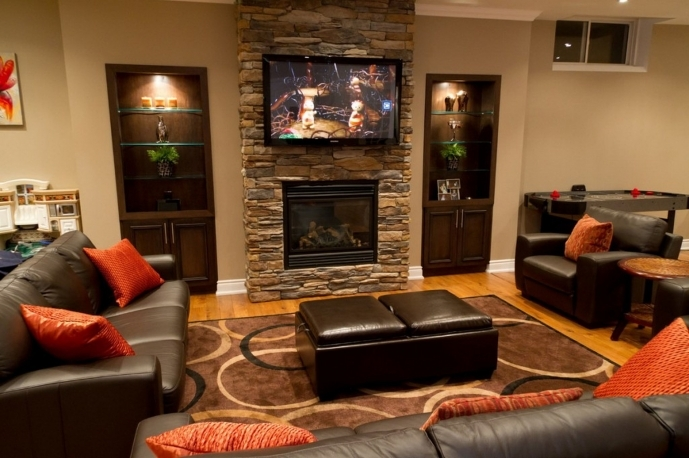 Decorating Ideas For Small Family Rooms Creative Basement Decor With Fireplaces Awesome Design Ideas 36
