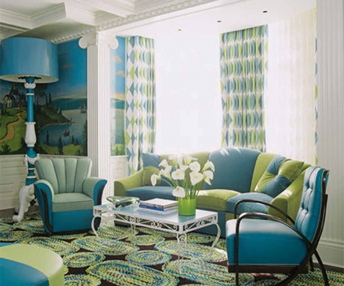 Decoration Ideas For Small Living Rooms With Blue Walls Blue Motif Rug, Blue Sofa And Table Lamp 99