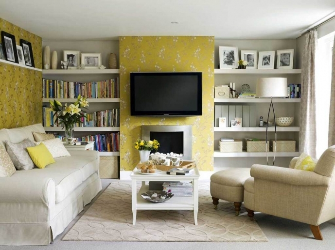 Small Family Room Decorating Ideas Pictures With Yellow Floral Wall Art And Neat White Wall Bookshelf 54