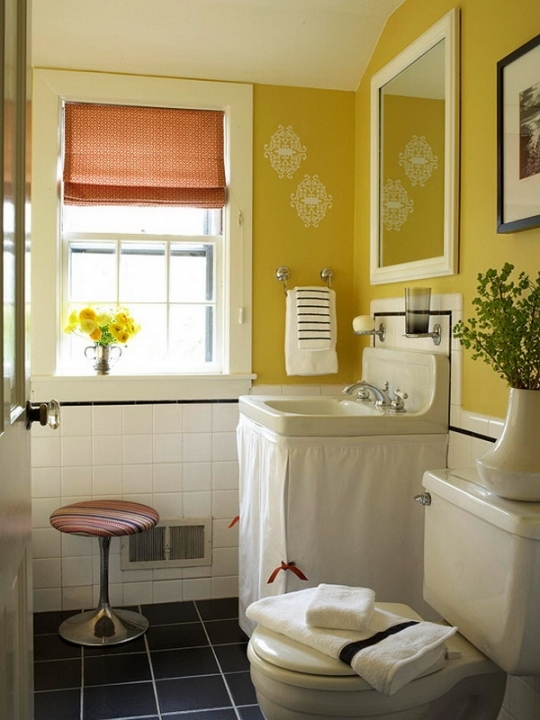 Awesome Small Bathroom Paint Color Ideas Regarding Yellow And White Ideas Photo