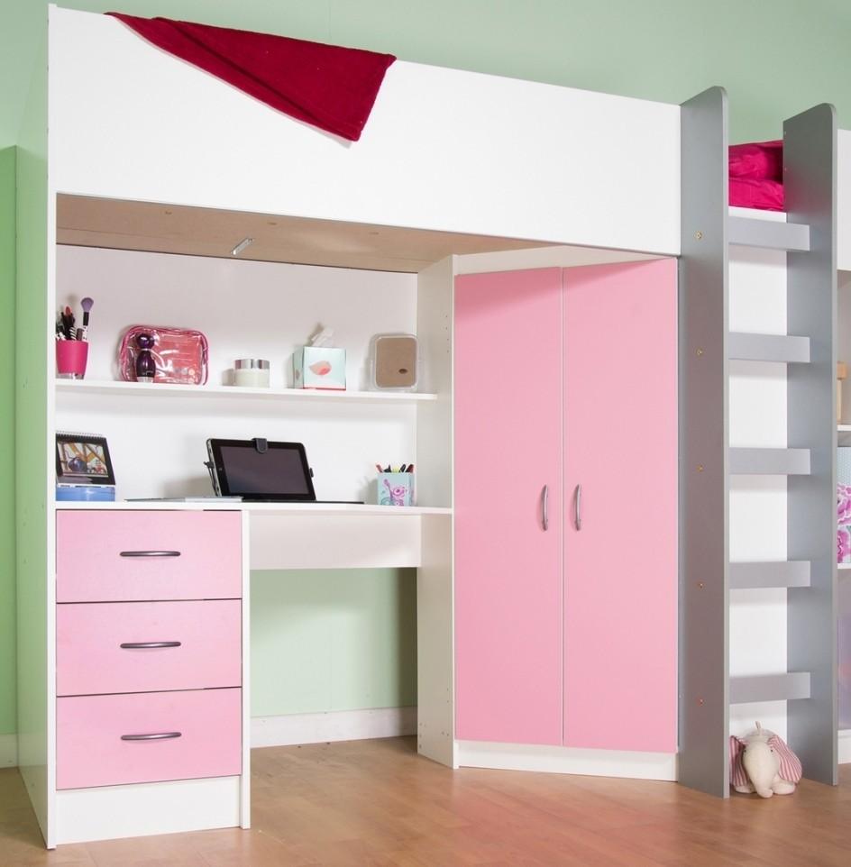 Comfy Small Cabin Beds Calder Cabin High Sleeper Bed White And Pink