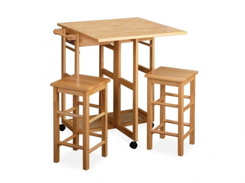 Drop Leaf Kitchen Tables For Small Spaces With 2 Stools 099