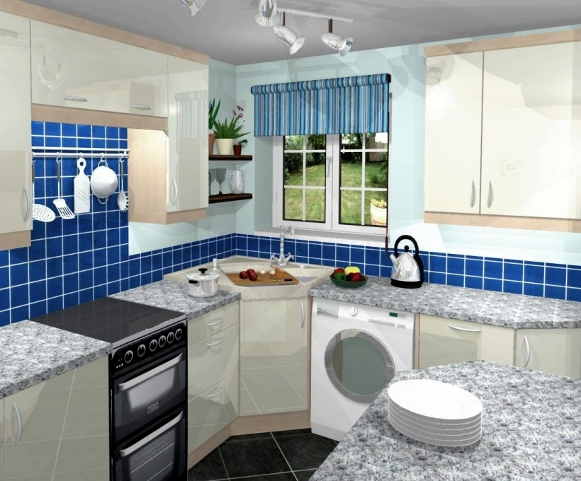 Interior Design Small Kitchen Ideas With Blue Decorating Design Ideas