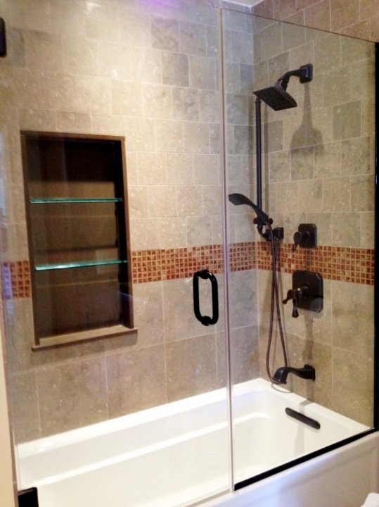 Lovely Small Bathroom Remodeling Subway Tile Minimalist Shower With Glasses Door And Marble Bathtub Feat Natural Subway Tile
