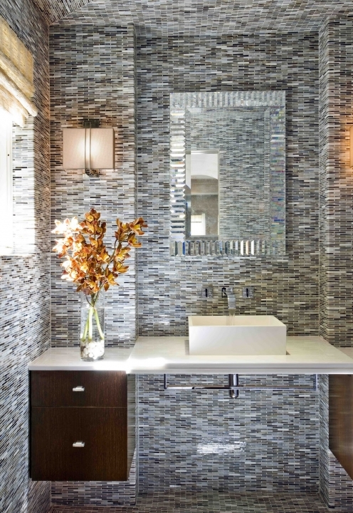 Small Powder Room Decorating Ideas Beautiful Design With Full Tiles Wall And Flooring Idea 488