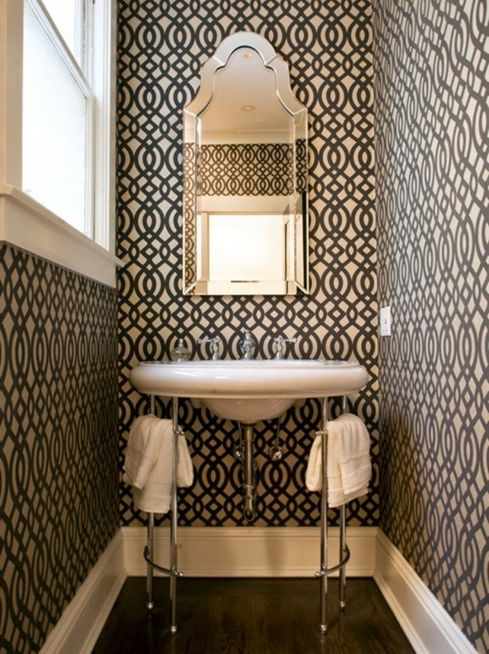 Small Powder Room Decorating Ideas Cosy Contemporary Design Ideas With Black And White Patterned 825