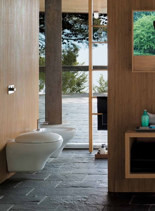 Bathroom Flooring Ideas For Small Bathrooms With Wonderful Wooden Walls And Gray Stone Tiles And White Mounted