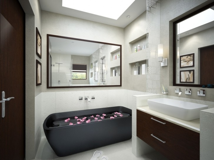 Freestanding Bathtubs Small Spaces Attractive Black Acrylic Freestanding Tub On White Ceramic Tiled Flooring 0582