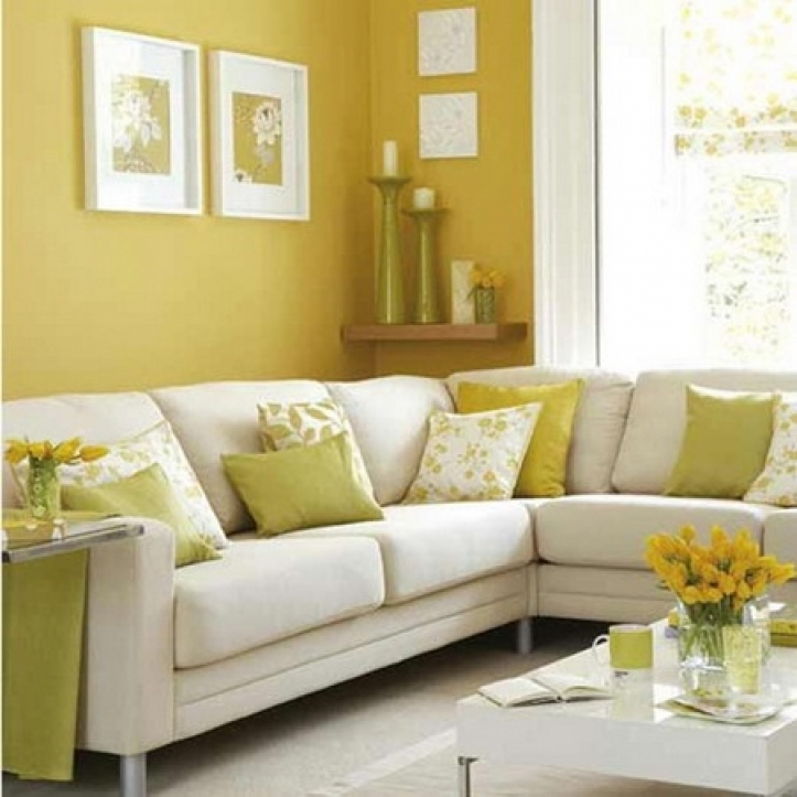 Paint Color Ideas For Small Living Room Inside Stylish Yellow Wall Color Theme And White Corner Sofa Sets 5178