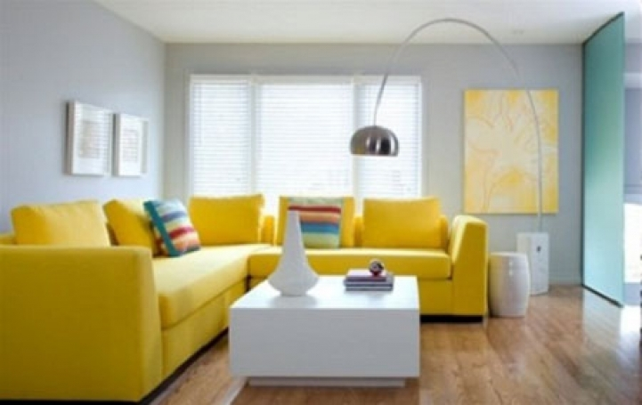 Paint Color Ideas For Small Living Room With Cozy Yellow Sofa, White Table And Gray Wall Living Room Ideas Color Capatec 8255
