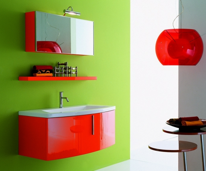 Small Bathroom Paint Colors With Brilliant Green Wall Paint Design And Wall Mount Orange Vanities 2886